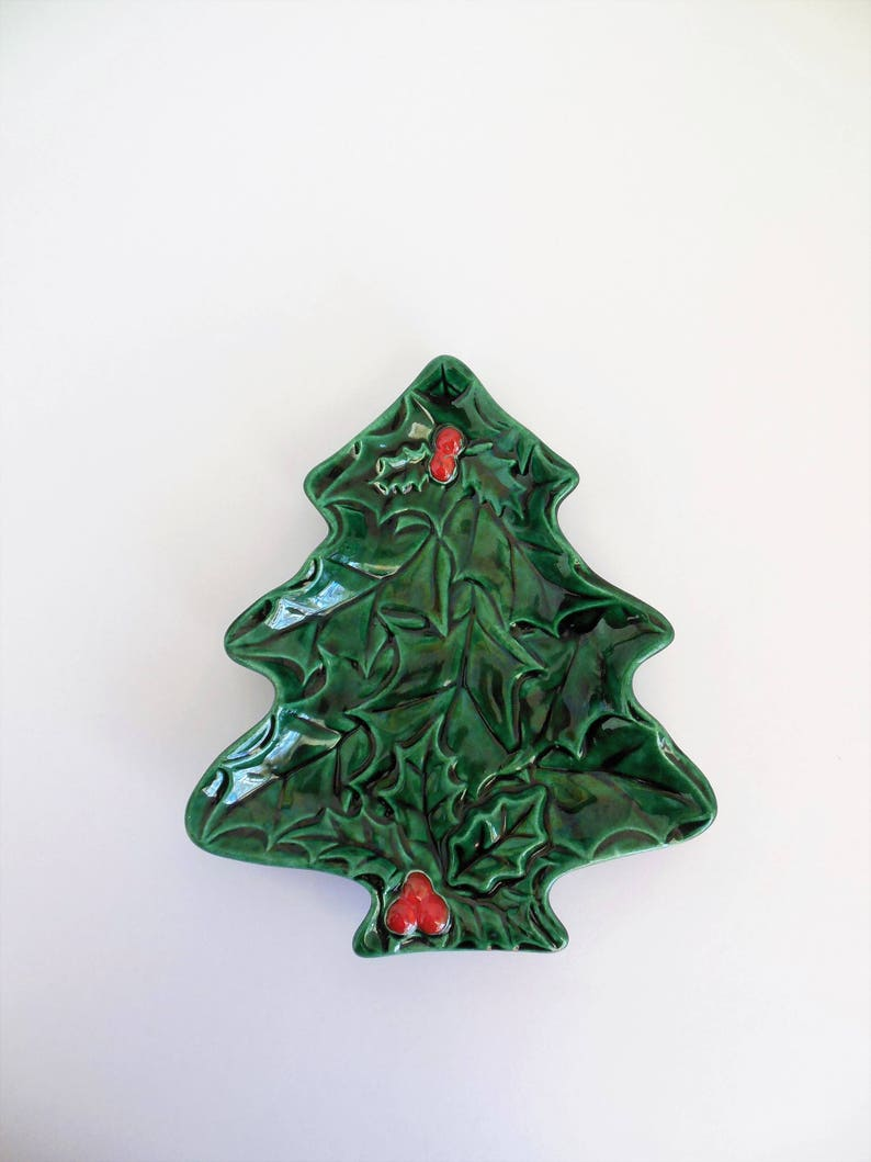 Ceramic Christmas Tree Plate With Holly Pattern Glossy Green Etsy