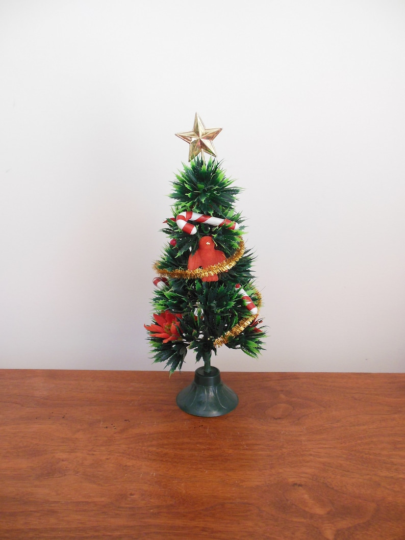 Plastic Christmas Tree With Flocked Birds And Poinsettias Candy Canes Berries Gold Garland And Star Retro Table Top Holiday Tree