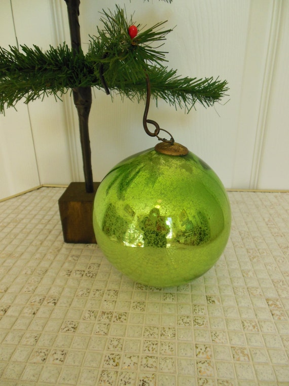 Green German Kugel Large Old Blown Glass Christmas Ornament With Brass Cap Antique Holiday Decor