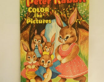 Peter Rabbit Unused Coloring Book for Easter Copyright 1955 Small Story Color Book