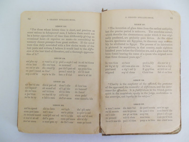 A Graded Spelling Book Harrington's Two Part Antique Hardcover School Book  Published 1882 by Harper and Brothers 251 Lessons for Children