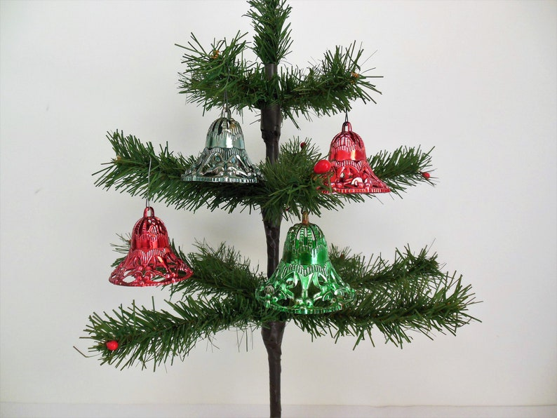Four Plastic Christmas Bell Ornaments Mid Century Holiday Tree Decor Red Green Blue Fancy Little Bells