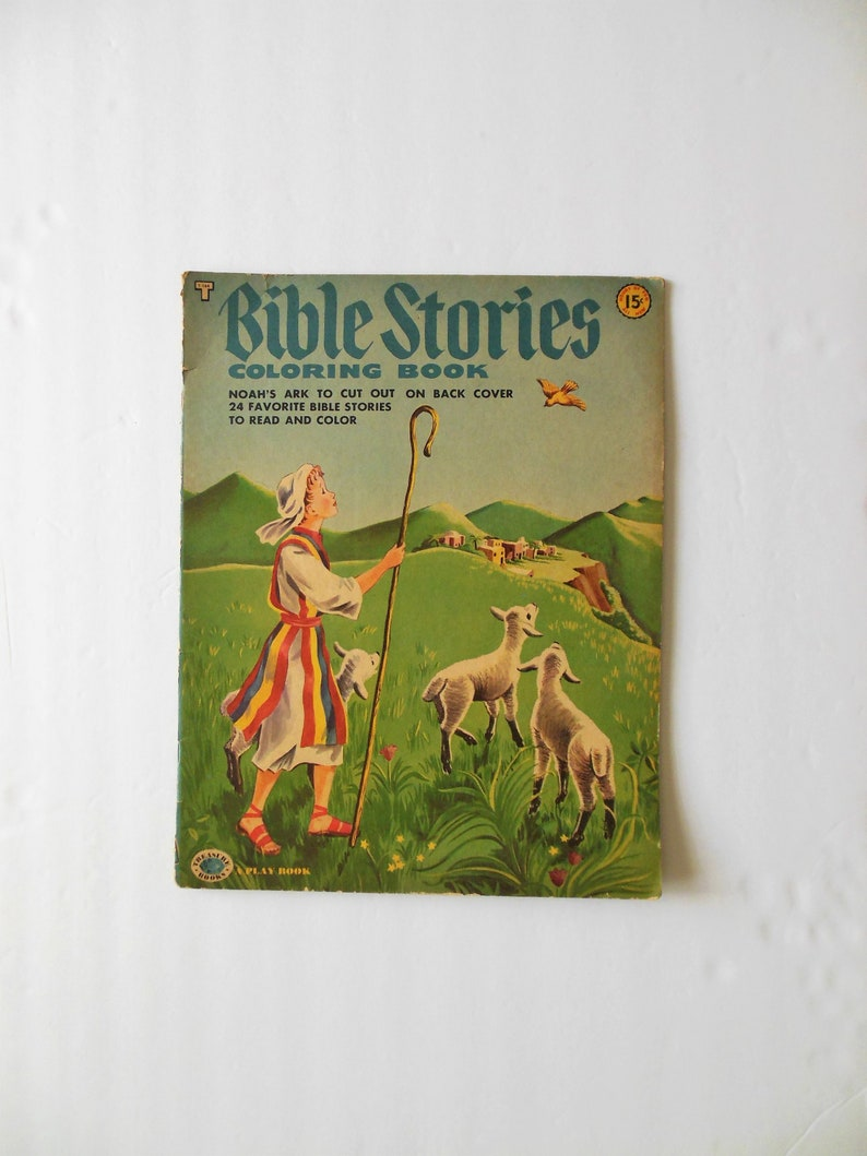 Bible Stories Coloring Book Unused Copyright 1953 by Treasure Books 27 Big  Pictures to Color with Stories Noah\'s Ark on Back Hours of Fun