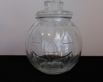 Jack O Lantern Halloween Lidded Jar Clear Glass Pumpkin Candy Container Marked Canada