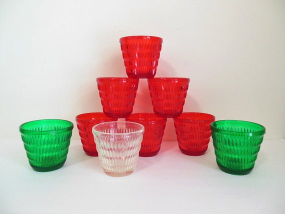 Dupont Diamond Pattern Glasses Set of Nine Lucite Acrylic Resin Unbreakable Tumblers Red Green and Clear for Christmas or Year Round Use
