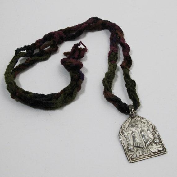 Divine Footprint Amulet antique silver vintage ethnic tribal