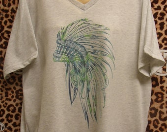 Indian Headdress printed v-neck t-shirt  adult s, m, l, xl, xxl (2X)
