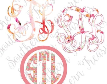 Watercolor Floral printed monogram DECAL or HEAT TRANSFER iron on 66 Patterns to choose from