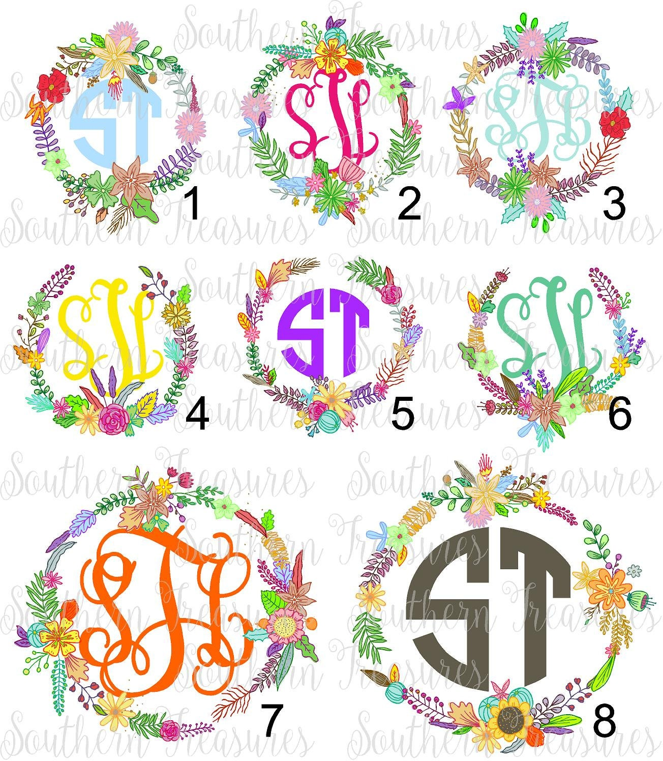 The Floral Project Wreath Monogram Designs Printed Heat Transfer Monogram