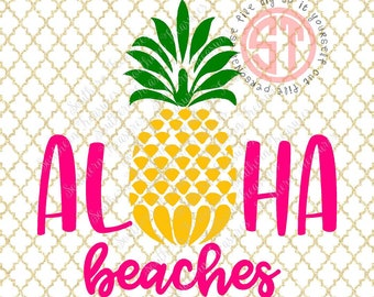 Aloha Beaches Pineapple Editable vector Cut File .eps .ai .svg and .pdf formats included INSTANT download