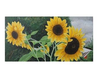 "Sunflowers 24"" x 12"", Original Acrylic Painting on canvas"