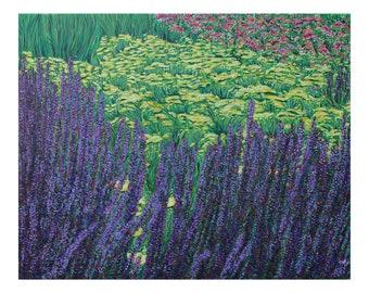 Purple Floral 20 x 16, Original Acrylic Painting on canvas