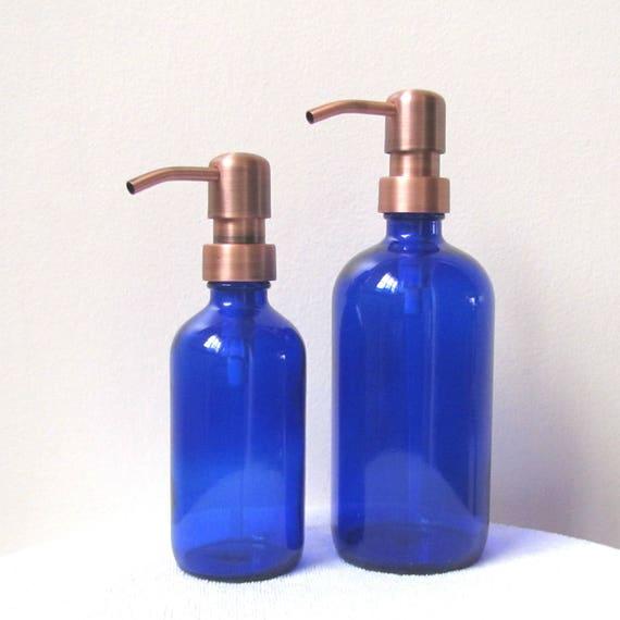 Cobalt Blue Glass Soap Dispenser Set 8oz And 16oz Antique Etsy