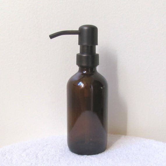 Amber Glass Soap Dispenser 8oz Oil Rubbed Bronze Soap | Etsy