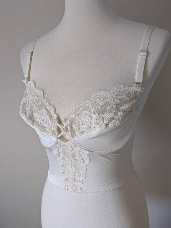Vintage VANITY FAIR Bra, Backless Corset top Lace… - image 7