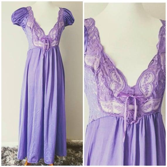 Vintage OLGA'S Nightgown Purple, Bridal Nightgown… - image 1