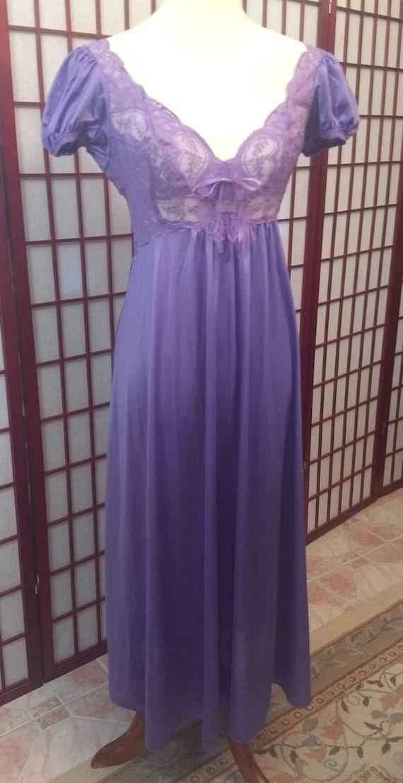 Vintage OLGA'S Nightgown Purple, Bridal Nightgown… - image 6