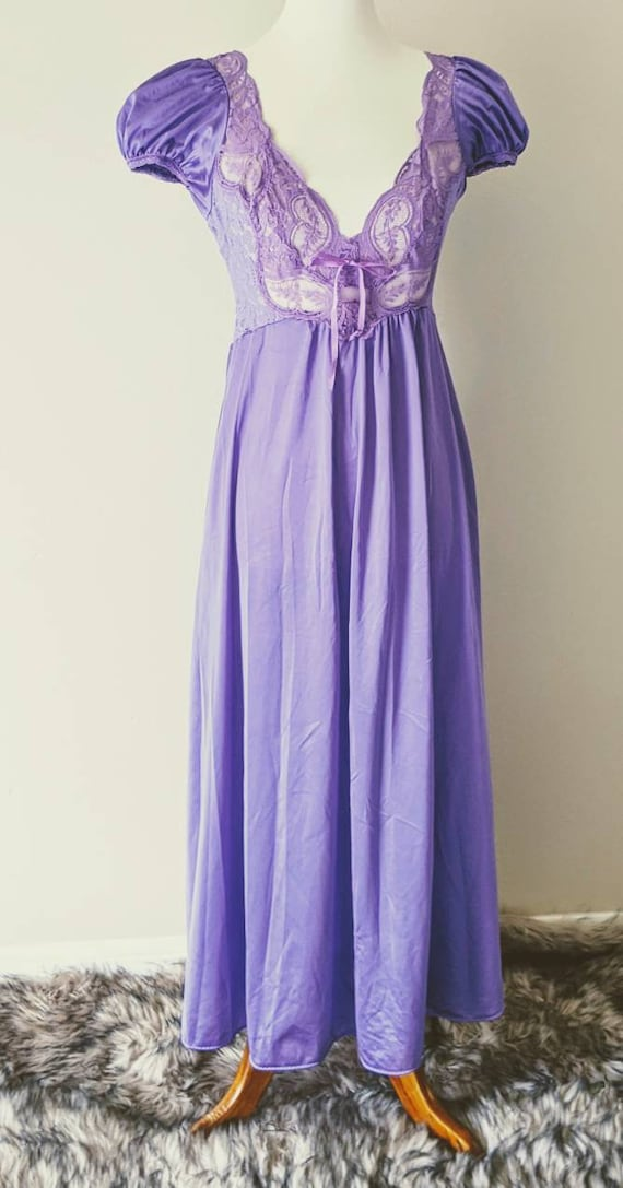 Vintage OLGA'S Nightgown Purple, Bridal Nightgown… - image 2