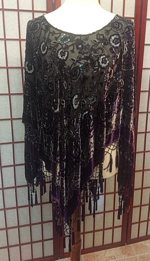 Piano Shawl Velvet  Purple Vintage Hand embroidery