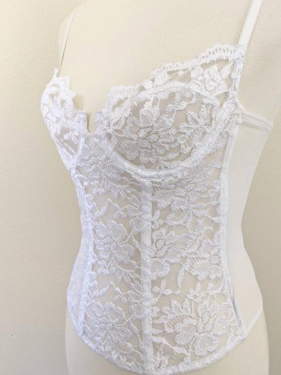 White Lace Corset, Sheer Corset for Women, Sheer … - image 4