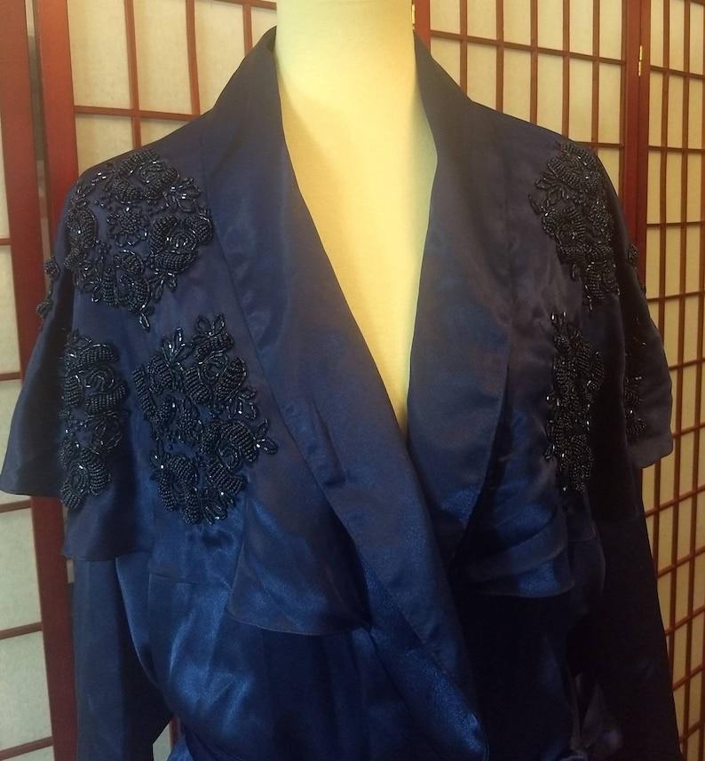 Robe  Blue Vintage Victoria/'s Secret  Blue Bridal Robe GOLD LABEL Long Robe Embroidery