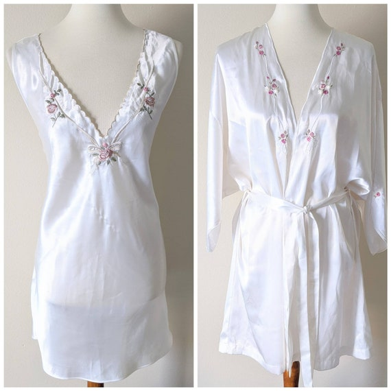 Bridal Embroidered Set Ivory, Nightgown and Robe ,