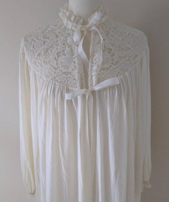 Victorian Bridal Robe, Robe Lingerie Ivory, Long R