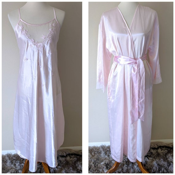 Vintage Set Pink Nightgown and Robe , Bridal Linge