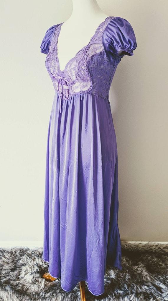 Vintage OLGA'S Nightgown Purple, Bridal Nightgown… - image 4