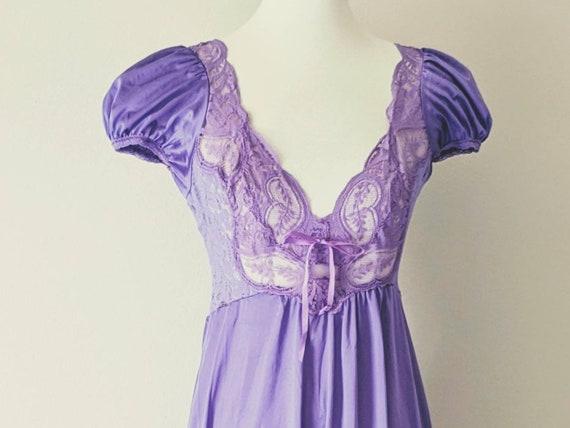 Vintage OLGA'S Nightgown Purple, Bridal Nightgown… - image 3