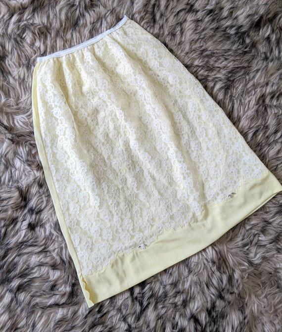 Vintage Half Slip Yellow Lace, Slip Extender, Slip