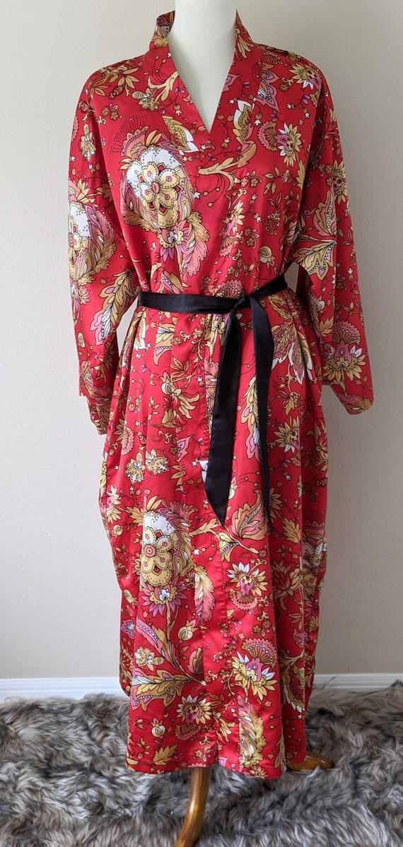 NATORI Robe Red Floral, Lounge Wear Long, Robe Kim