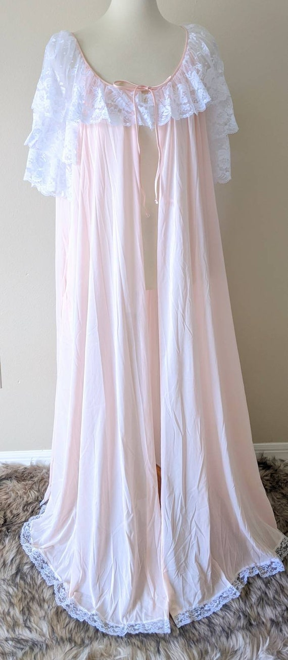 MISS ELAINE Vintage Long Robe, Pink Peignoir Desig
