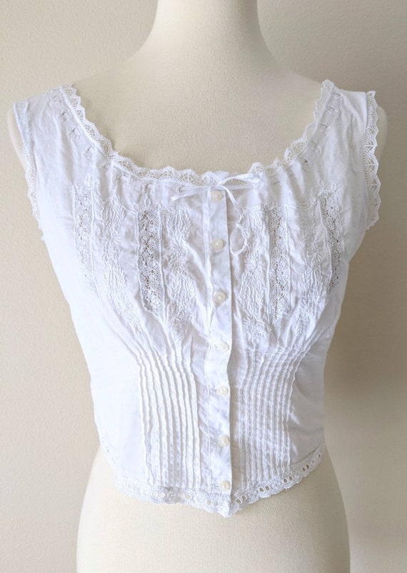 Victorian Cover Top, White Corset cover Blouse,Ant