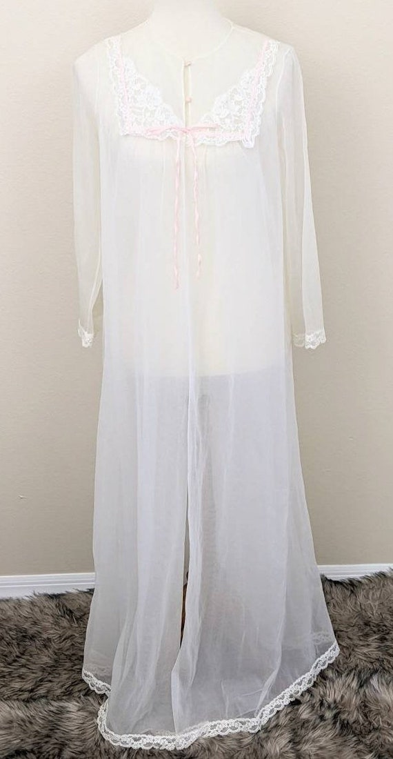 Vintage White Robe, Bridal Lingerie Sheer, See thr