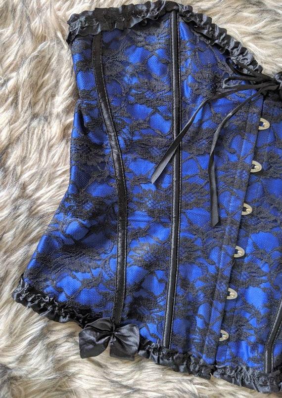 Corset Top Vintage Black  and Blue, Blue Corset, … - image 6