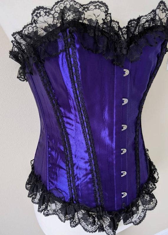 Purple Satin Corset Waist Cincher, Purple Corset … - image 3