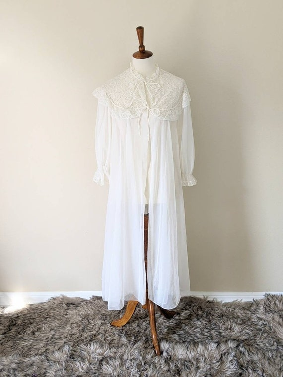 1960s Sheer Cream Lace Peignoir Poof Sleeve Romantic Open Bridal Wedding Lingerie Cover Nightgown White Edwardian Lace Women/'s S-M