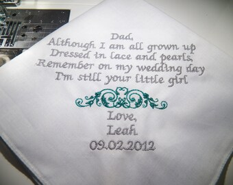 Father of the Bride Handkerchief Wedding Keepsake.