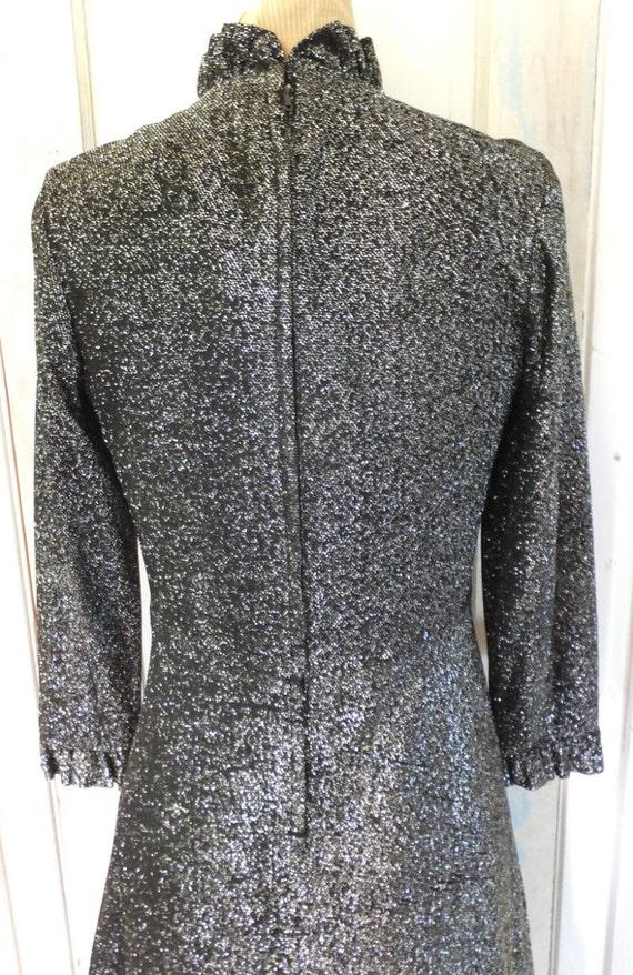Vintage Lurex Dress Maxi Long Dress Black Lurex 1… - image 3