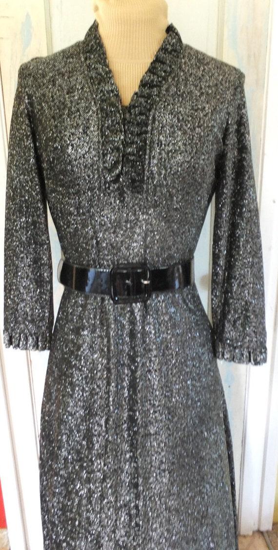 Vintage Lurex Dress Maxi Long Dress Black Lurex 1… - image 2