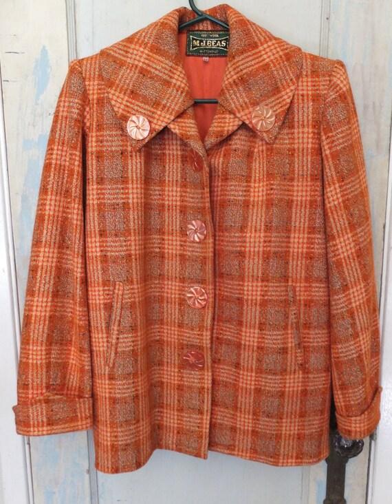 1950's Women's Wool Plaid Jacket 1940's Jacket Ora