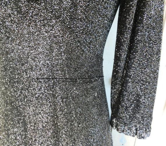 Vintage Lurex Dress Maxi Long Dress Black Lurex 1… - image 5