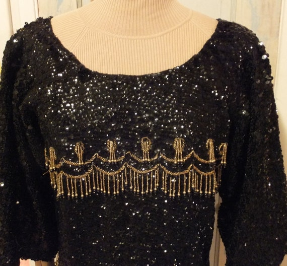 50's Black and Gold Beaded Sweater