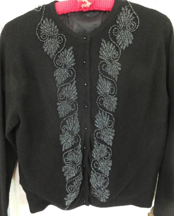 1950's Black Beaded Sweater