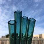 Blue-Green Glass Smoothie Straw