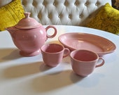 4 pieces FIESTAWARE Rose Pink Pottery Teapot with lid, Large Platter Cups Fiesta by Homer Laughlin circa 1980s Vintage