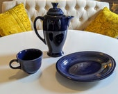 3 pieces FIESTAWARE Cobalt Blue Pottery Coffee pot with lid, Platter Cup Fiesta by Homer Laughlin circa 1980s Vintage