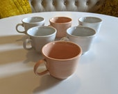 6 pieces FIESTAWARE Pottery Apricot White CUPS Fiesta Homer Laughlin circa 1980s Vintage
