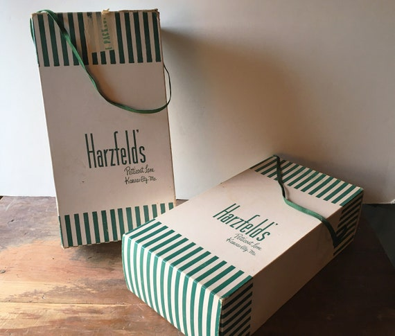 Pair 1940s-50s Shoe Boxes Vintage Harzfeld's Ladie